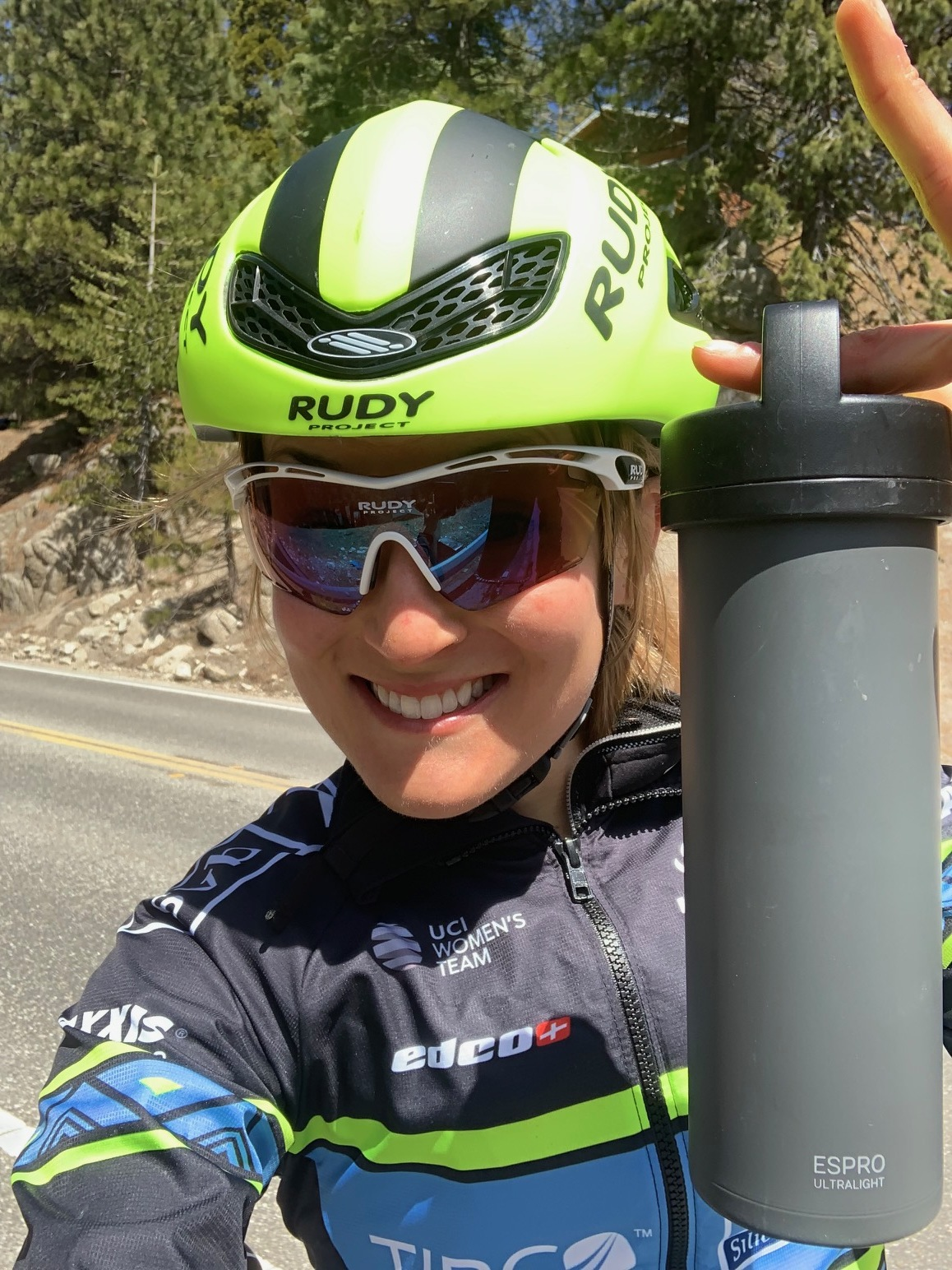Professional cyclist Lex Albrecht with ESPRO ultralight frenchpress on a bike ride wearing Rudy Project boost helmet